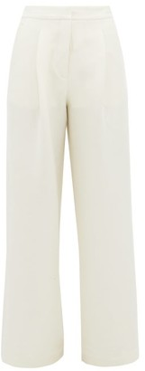 Woolmark Albus Lumen - X Solis Merino Blend Wide Leg Trousers - Womens - Cream