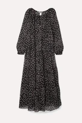 Stella McCartney Tiered Polka-dot Cotton And Silk-blend Voile Maxi Dress - Black