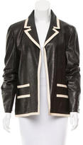 Chanel Leather Contrast-Trimmed Jacket