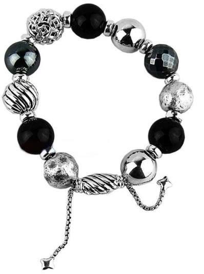 David Yurman Classic Ball Sterling Silver Onyx Hematite Bracelet