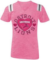5th & Ocean Detroit Lions Pink Heart Football T-Shirt, Girls (4-16)