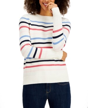Style&Co. Style & Co Striped Sweater, Created for Macy's