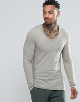 Asos Extreme Muscle Long Sleeve T-Shirt With V Neck In Gray