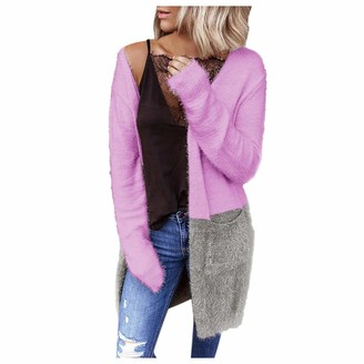 Love Letters  Love letters Womens Boho Open Front Cardigan Colorblock Long Sleeve Loose Knit Lightweight Sweaters Hot Pink
