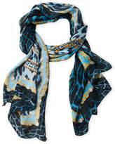 Roberto Cavalli Chain & Pearl Logo Printed Silk Scarf
