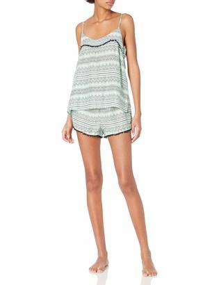 Mae Amazon Brand Women's Sleepwear Pom Trim Tank and Short Pajama Set