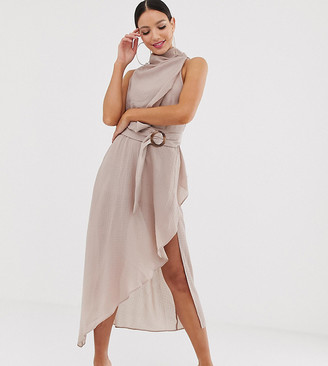 Asos Tall DESIGN Tall drape neck midi dress in textured fabric with self belt-Beige