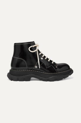 Alexander McQueen Glossed-leather Exaggerated-sole Ankle Boots - Black