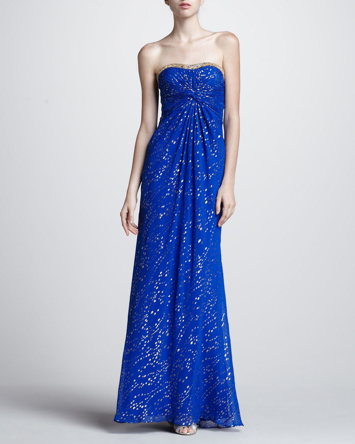 Aidan Mattox Metallic Speck Strapless Gown