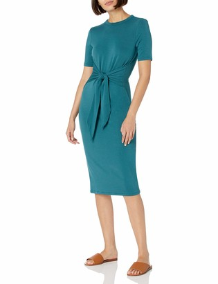 Daily Ritual Amazon Brand Women's Supersoft Terry Short-Sleeve Crewneck Tie-Front Midi Dress