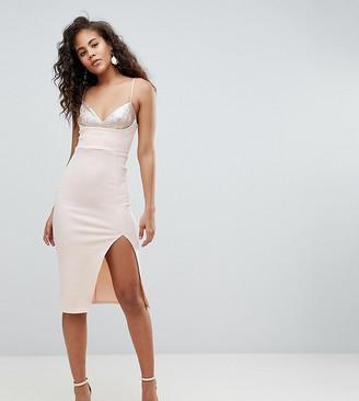 Asos Tall DESIGN Tall sequin bra top midi bodycon dress-Pink