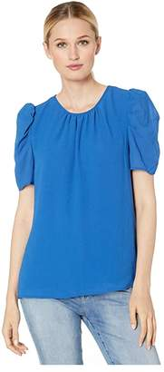 Vince Camuto Short Sleeve Puff Shoulder Linear Weave Blouse (Tropic) Women's Clothing