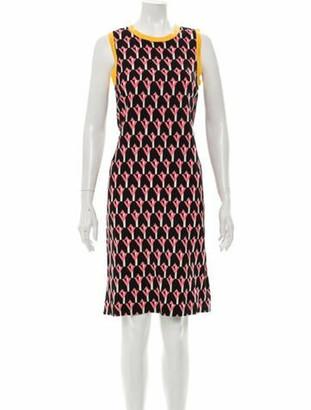 Prada Geometric Printed Knee-Length Dress Black