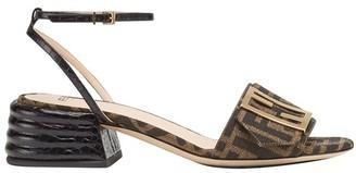 Fendi Brown fabric sandals
