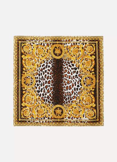 Versace Printed Silk-twill Scarf - Yellow
