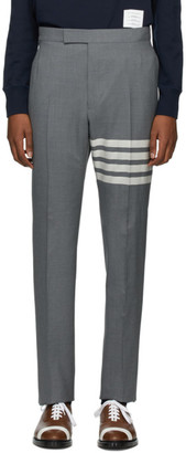 Thom Browne Grey 4-Bar Backstrap Trousers