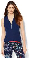 New York & Co. Soho Soft Shirt - Hi-Lo - Zip-Front - Solid