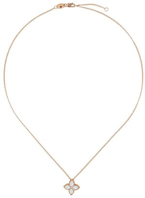 Roberto Coin 18kt yellow gold Princess Flower mother-of-pearl and diamond necklace