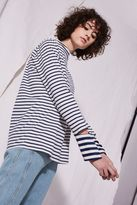 Topshop **Striped Cut Cuff Sleeve Top by Boutique