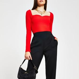 River Island Womens Red long sleeve sweetheart neckline top