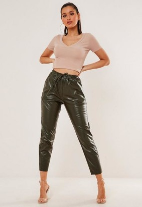 Missguided Green Faux Leather Tie Waist Cigarette Pants
