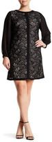 London Times Long Sleeve Lace Shift Dress (Plus)