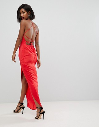 Asos Design Hammered Satin Maxi Dress with Lace Up Back