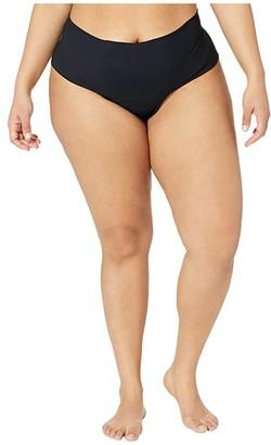 Hanky Panky Plus Size Bare Godiva High-Rise Thong (Black) Women's Swimwear