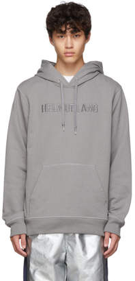 Helmut Lang Grey Raised Embroidery Standard Hoodie