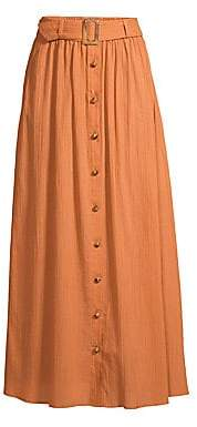Lisa Marie Fernandez Women's Belted Crinkle Crepe A-Line Maxi Skirt