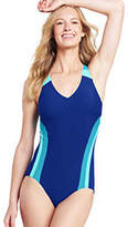 Lands' End Women's Petite V-neck One Piece Swimsuit-Dark Royal/Lagoon Teal