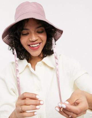 ASOS DESIGN satin fisherman hat with under tie in pink