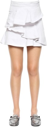 Etoile Isabel Marant Ruffled Cotton Denim Skirt