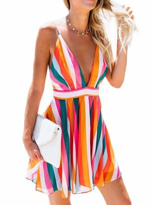 FIYOTE Womens Color Block V Neck Open Back Mini Dress Spaghetti Strap Summer Beach Dress Sundress