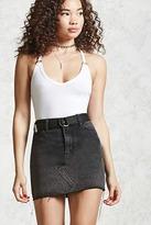 Forever 21 FOREVER 21+ Raw-Cut Denim Mini Skirt