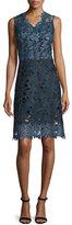 Elie Tahari Savon Sleeveless Floral Lace A-Line Dress, Navy