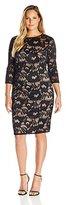 Adrianna Papell Women's Plus Size Carol Lace Contrast Sheath Dress