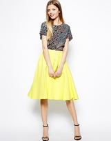 ASOS Midi Skirt In Bright Jacquard - yellow