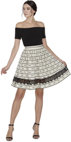Alice + Olivia Mazie Lace Combo Midlength Skirt