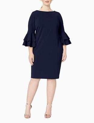 Calvin Klein Plus Size Boat Neck Bell Sleeve Sheath Dress