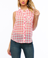 Coral Plaid Sleeveless Button-Up Top