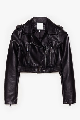 Nasty Gal Womens Part Time Rocker Cropped Faux Leather Jacket - Black - S, Black