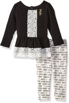 Juicy Couture Girls' 2 Piece Tunic with Lace Accent and Legging Set