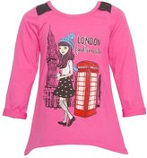 "Mini Moca Big Girls ""London Fashionista"" Print Lace Detail Shirt"