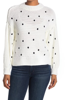Topshop Dot Print Open Stitch Sweater