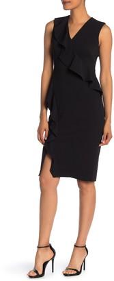 Calvin Klein V-Neck Ruffle Sheath Dress