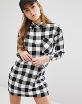 Daisy Street Relaxed Shirt Dress With Zip Neck In Check
