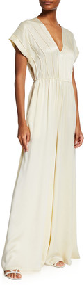 Rebecca Taylor Silk Charmeuse Wide-Leg Jumpsuit