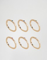 Asos Pack of 6 Rainbow Stone Rings