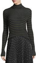 Vince Striped Skinny-Rib Turtleneck Cashmere Sweater